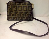 Vintage 90s Fendi Crossbody Purse Weaved Logo Fully Lined with Gold hardware