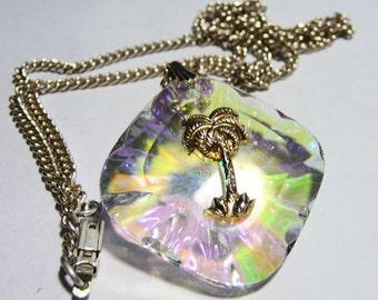 Vintage Florida AB Crystal Palm Tree Necklace
