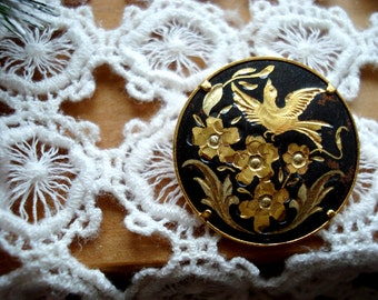 Vintage 1950s Damascene Pin Brooch Bird and Flowers Gold and Flat Black Pin