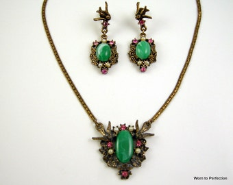 Vintage Bird Necklace and Earrings with Green Cabochon, Pearls and Pink Rhinestones