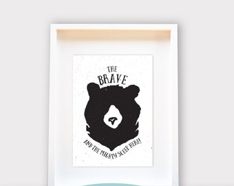 The Brave and Mighty Sleep Here - Bear, Personalized Nursery Art, Baby Shower gift, Baby Announcement 8x10/A4 Wall Art