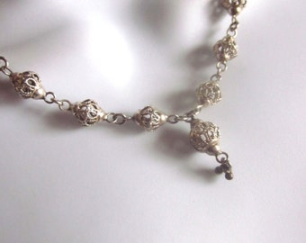 Sterling Silver Filigree Necklace Wire Beaded Jewelry