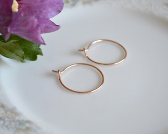 Small rose gold hoop earrings, rose gold jewelry, bridesmaids gift