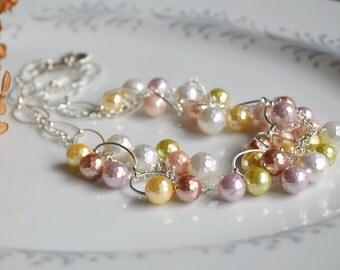 Multi-color pearl cluster necklace, pearl bib necklace