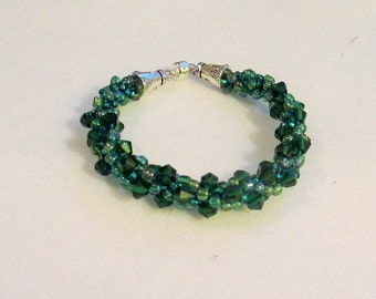 Hand Beaded and Braided Green Crystal Emerald Bracelet - 7 to 7 1/2 inch wrist