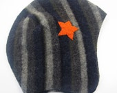 Stiped Lambswool Pilot Cap, Blue and Gray with Orange Star, Size 0 to 6 months