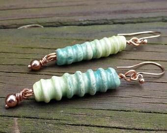 Green Ombre Earrings - Handmade Ridged Ceramic Tubes, Opposite Ombre Shading, Copper Beads, Dangle Earrings