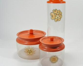 Tupperware Counterparts Canisters  a Trio of Vintage Orange Storage Containers