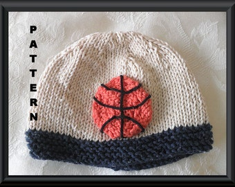 Knitted Hat Pattern Baby Hat Pattern Basketball Hat Basketball pattern Newborn Hat Pattern Infant Hat Pattern March Madness: BASKETBALL