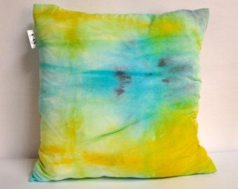 "Turquoise, Citrus and Black shibori pillow cover 20"" square"