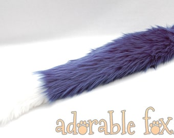 Faux Fur Fox Tail - Navy Blue - Cosplay / Furry / Costume