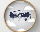 Biplane Navy Gray Sky with Clouds Wall Clock 10 inch Diameter