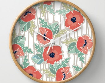 Poppies All Over Wall Clock 10 inch Diameter