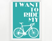 Ride My Bike Print, 9 x 12 Hand Printed - Pick Your Color