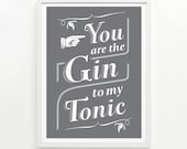 Gin and Tonic Poster, 9 x 12 Hand Printed - Pick Your Color