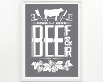 Foodie Gifts, Kitchen Decor, Mens Gift, Foodie Gift for Her, Food Poster - Beef & Beer Screenprint Poster 9 x 12: