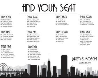 San Francisco Seating Chart Digital Design Printable PDF Custom Personal Poster Print File ONLY Seating Plan