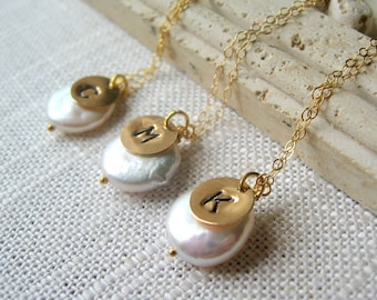 SET of THREE Bridesmaid Necklaces, Initial Necklaces, Personalized Necklace, Pearl Necklace