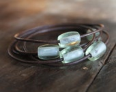 LaSt SeT - Ensenada Dark Espresso Brown Leather Bangles with Sea Green Glass Beads - As Seen On Etsy Front Page