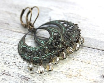 Verdigris Chandelier Dangle Earrings,  Champagne Yellow Czech Glass Beads,  Verdigris Patina Antiqued Brass Hoops
