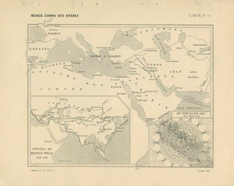 1910, Arab World, Portugese, Spanish Discoveries, French Ancient History Maps 19 & 20, School Atlas Page