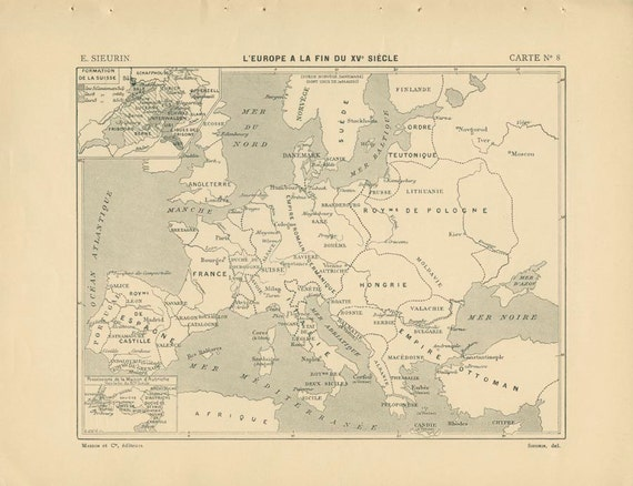 1910, 15th Century Europe, 15th Century France, French Ancient History Maps 8 & 9, School Atlas Page