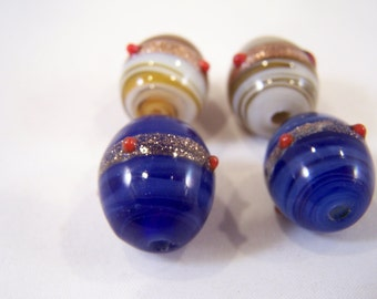 FREE SHIPPING - 4 pcs Handmade Lampwork Beads (#1920-3)