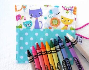 Mini Crayon Holder Roll - Cat & Mouse - holds 8 - 10 crayons, crayon purse, girls crayon roll, teal, aqua, crayon organizer, cat, mouse