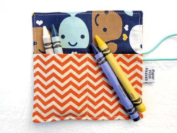 Mini Crayon Roll Up - Whale Allover - holds 8 - 10 crayons,  party favor, crayon holder, crayon organizer, sea, fish, chevron, orange, blue