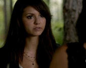 As Seen TV / The Vampire Diaries (Character: Elena) - Garnet & Gold Double Strand Necklace