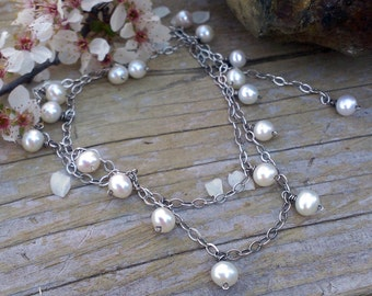 Pearl Charm Necklace - White Pearls, 22 inch length, adjustable