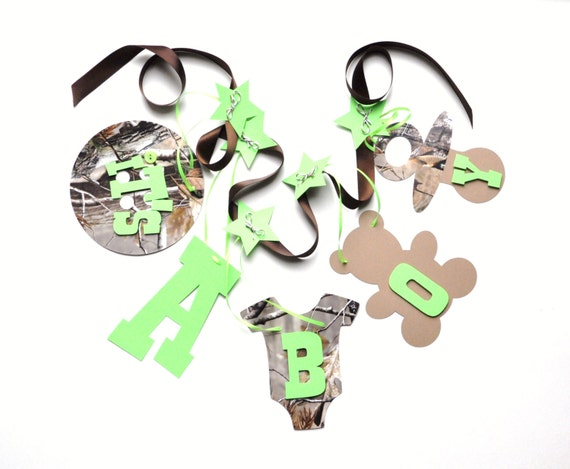 camo baby shower decorations lime green it 39 s a boy banner by