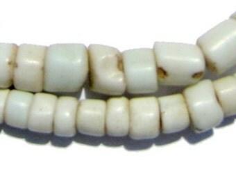 110 White Goomba Beads - White African Beads - Made in Congo ** (GOOMBA-201)
