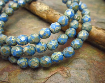 French Blue Picasso Faceted Firepolished 3mm Beads