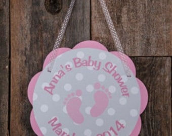 Pink Baby Feet Baby Shower Decorations - Pink Footprint Baby Shower Door Hanger, Baby Girl Baby Shower Decorations in Pink and Grey