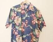 Hawaiian shirt, tropical Shirt, Cotton blend, Cotton shirt, Cotton T-shirt, Button up Shirt, Size L, large