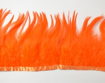 Rooster Saddle Fringe-Feather Trimming, Sunburst Orange