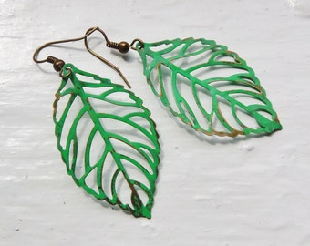 Green Leaf Statement Earrings. Leaf Earrings. Large Leaf Earrings. Large Earrings. Filigree. Kelly Green. Vintage Inspired. Shabby Chic.