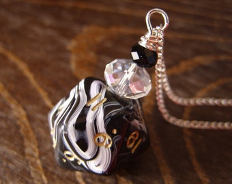 D20 dice dungeons and dragons necklace dice black white swirls pendant D20 pendant dice jewelry dice necklace D20 necklace
