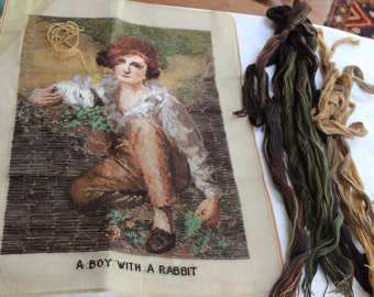 Needlepoint canvas Wool Yarn A Boy With a Rabbit Kit VINTAGE by Plantdreaming