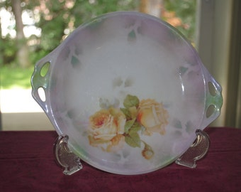 German Bavarian Plate--Yellow Roses    9 inches x 7 1/2 inches