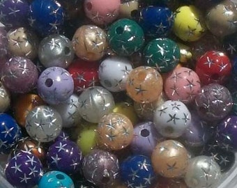 100 Acrylic Round Sparkle Beads with Silver stars 8mm  -- ASSORTMENT