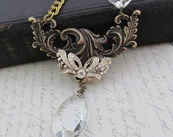 Vintage Wedding Necklace Rhinestone Bow Necklace Statement Crystal Jewelry Bride Necklace