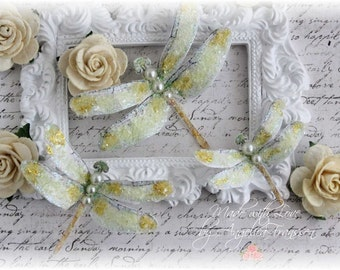 Mystic Dragonfly Embellishments Sweet Yellow for Scrapbooking, Cardmaking, Tag Art, Mixed Media, Wedding