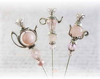 Elegant Tea Party Stick Pins Scrapbooking , Cardmaking, Sewing, Wearables, Tag Art, Mini Album, Weding