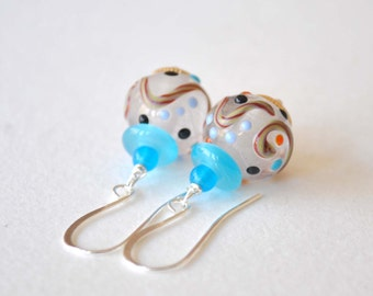White Earrings, Sky Blue Earrings, Lampwork Glass Earrings, Polka Dot Earrings, Bumpy Earrings