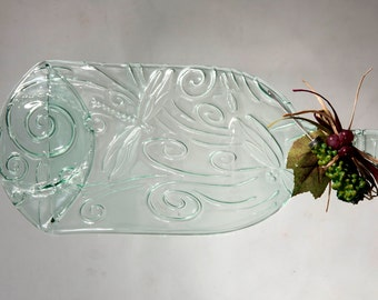 Large Aqua or Green Dragonfly Pattern Cheese Tray Slumped Bottle