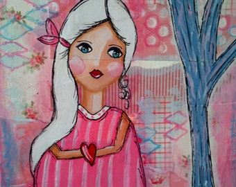 "Original Mixed Media Painting on 8x10 Canvas - Painting Home Decor Art Work - Folk Art - ""I Give My Heart to You"""