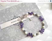 On Sale Amethyst Fresh Water Pearl Bali and Sterling Silver Spring Bracelet - Sweet Violets