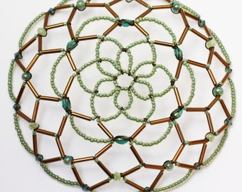 Antique Bronze and Soft Green Kippah